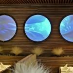 Tvarovaná projekční fólie pro přední projekci v interieru restaurace